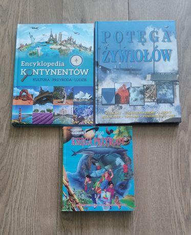 Zestaw 3 książki naukowe, Księga przyrody, Encyklopedia kontynentów
