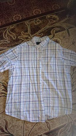 Сорочка рубашка бавовна: біла в клітину, стан дуже хороший