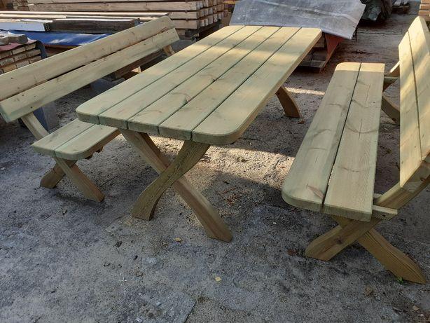 Meble ogrodowe, stół, ławki, ławka z drewna, sosna, iglaste, producent
