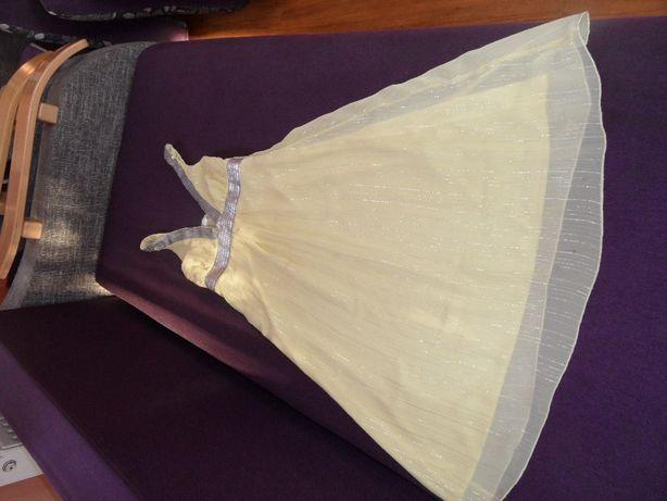 Sukienka żółta z srebrną nitką przy karc srebrne cekiny roz 34cena 19