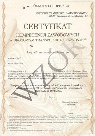 Certyfikat Kompetencji Zawodowych przewóz rzeczy / spedycje ( CPC )
