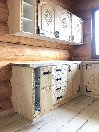 Kuchnia góralska, rzeźbiona, fronty lite drewno! PRODUCENT