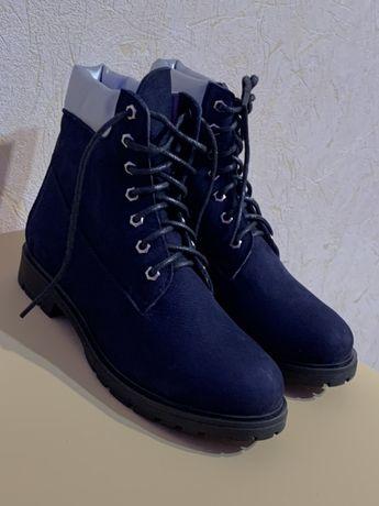 Синие Тимберленды женские ботинки