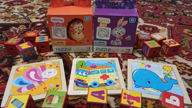 Пазлы картонные, деревянные, кубики