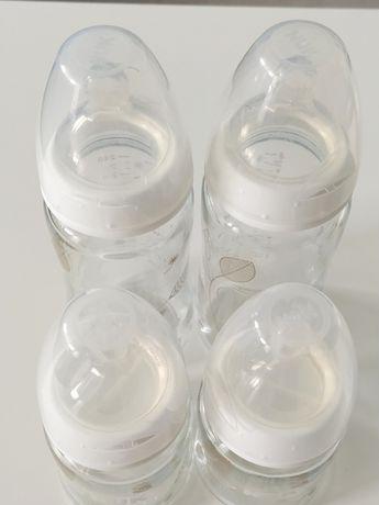 4 szklane butelki