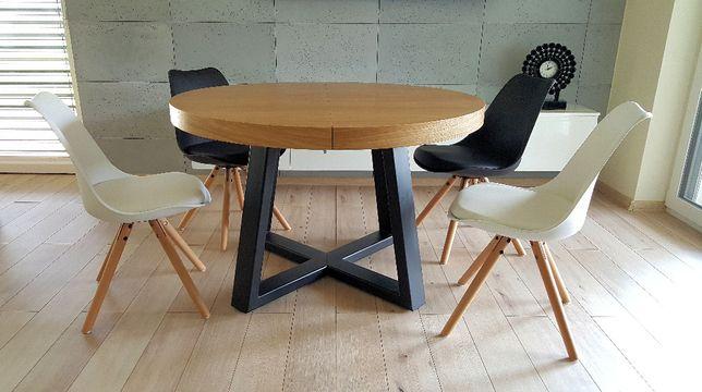 Nowoczesny stół dębowy okrągły rozkładany Loft