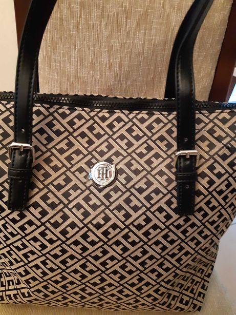 Tommy Hilfiger torebka torba beżowo czarna z USA Oryginalna