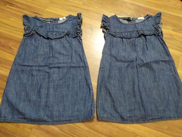 Sukienki jeans dla bliźniaczek rozmiar 104