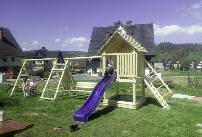domek dla dziecka plac zabaw huśtawka zjeżdżalnia ścianka piaskownica