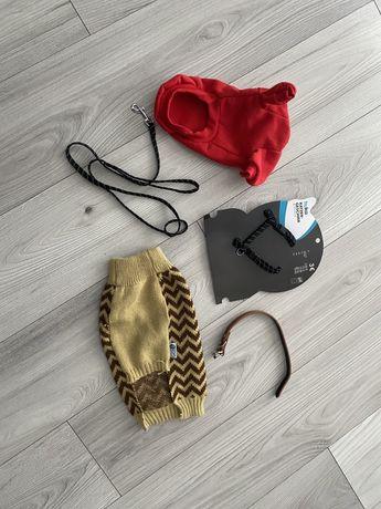 Akcesoriq dla pieska (mops, buldożek) smycz, miska, ubranie