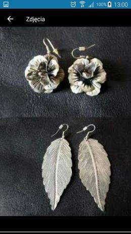 Kolczyki listki róża srebrne oraay