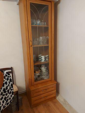Komplet zestaw szklana witryna + komoda do salonu słupek meblościanka
