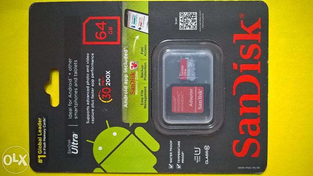 SanDisk Ultra 64GB MicroSDXC Memory Card With Adapter