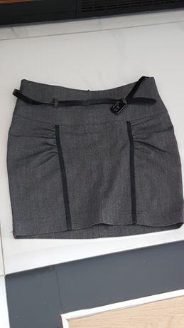 Elegancka szara spodnica mini z paskiem , business style, rozmiar 34