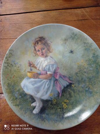 "Piękny Kolekcjonerski talerz ""Little Miss Muffet"