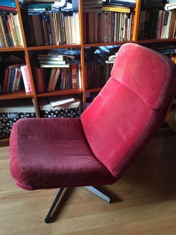 Retro fotel Ikea Lunna styl lata 1970 czerwony sztruksowy Vintage