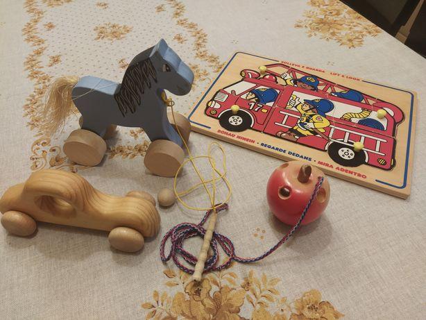 Drewniane zabawki/ puzzle drewniane/ koń/ samochód drewniany