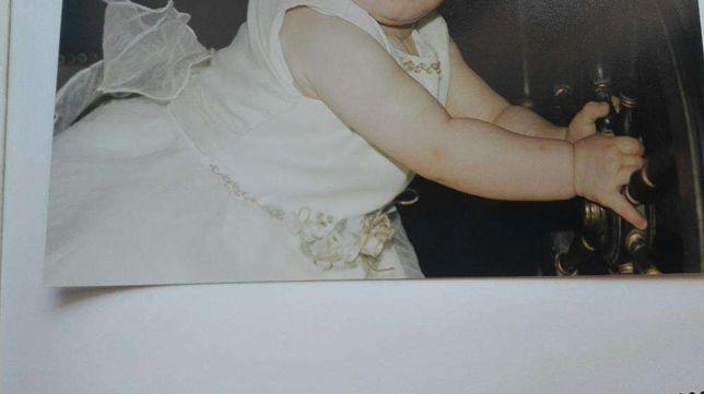 Vestido de batizado menina , com piugus e sapatos