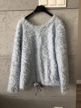 Włochaty sweterek baby blue alpaka milutki