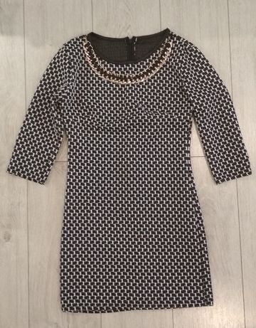 Sukienka mini czarno biała 36 S