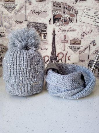 Шапочка шапка+снуд девочка зима 8-9 лет