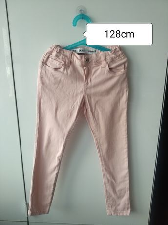 Spodnie jeans skinny róż 128cm