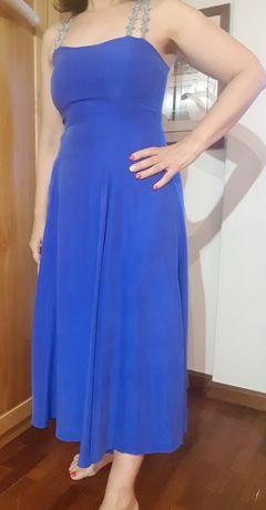Vestido en seda azul magenta/ciano com alças prateadas