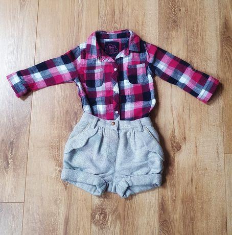 Zestaw spodenki i koszula w kratę rozm 86 (12-18m) jak h&m lub next