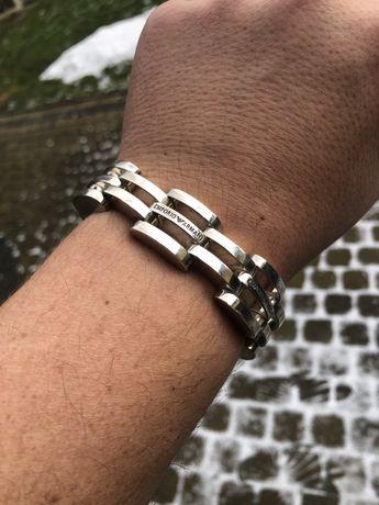 Piękna srebrna bransoleta Armani Okazja