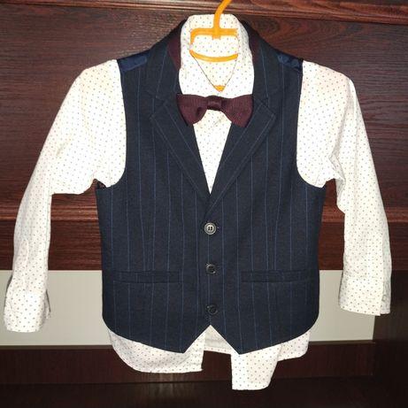 Нарядный костюм рубашка + жилет +  бабочка Next Некст рост 104 см
