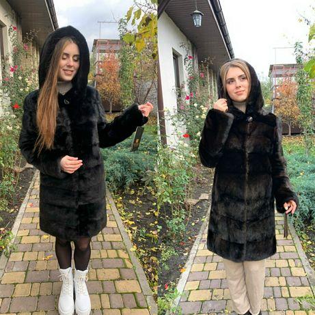 Норковая шуба Капюшон Трансформер поперечка 90 см Шуба