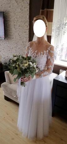 Suknia ślubna - 36 - KORONKA - tiul - idealny stan