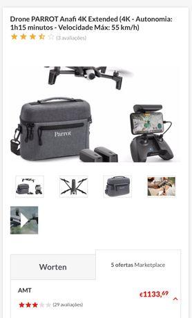 Drone PARROT Anafi 4K Extended (4K - Autonomia: 1h15 minutos - Velocid