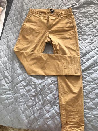 Eleganckie męskie spodnie musztardowe M hm