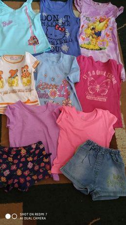 майка футболка шорты 11 штук комплект отдам дешево девочка 6-7лет