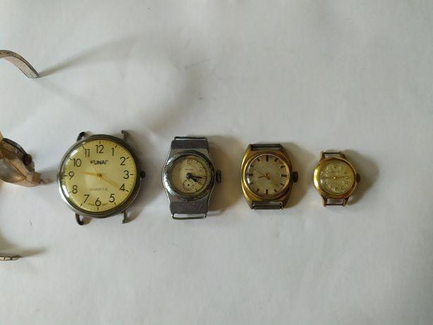 Radzieckie zegarki vintage Zwiezda Zaria Wołga pozłacane + dwa inne