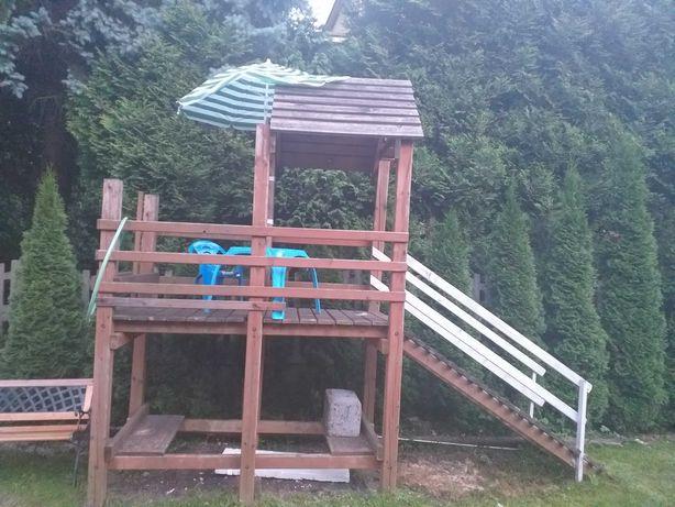 Domek drewniany dla dzieci plus zjeżdzalnia 3m