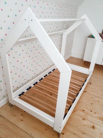 Łóżko dzieciece domek drewniane białe