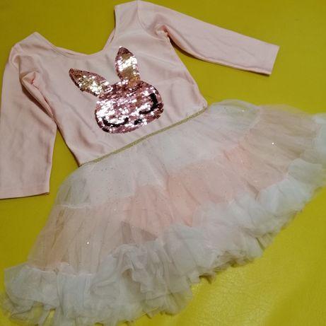 Платье боди H&M с пайетками-перевертышами 6-8 лет новое пышное