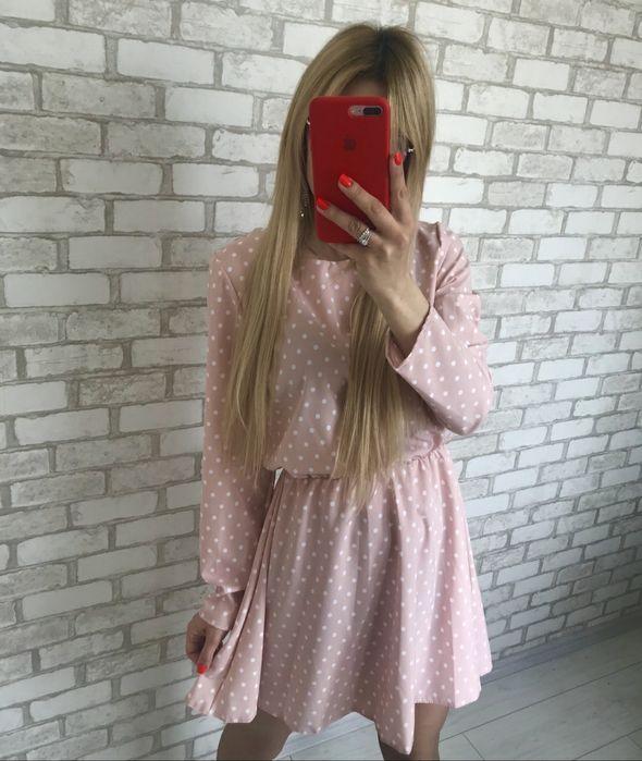 Платье легкое розовое в горошек Софиевская Борщаговка - изображение 1