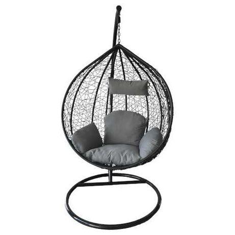 Cadeira de Baloiço completa, preto-cinza rattan interior exterior