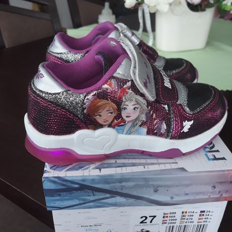 Adidasy, buty sportowe  elza, frozen, kraina lodu świecące roz.27