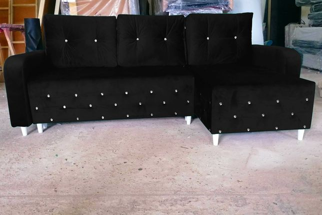 GLAMOUR nowy narożnik rogówka kryształy rozkładany kanapa sofa TANIO