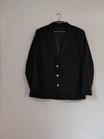 черный шерстяной пиджак с золотыми пуговицами Massimo Dutti
