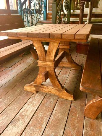 Стол скамейка декор для сада из натурального дерева