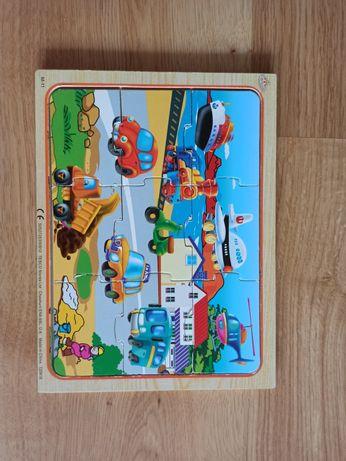 Puzzle drewniane 9 el. samochody