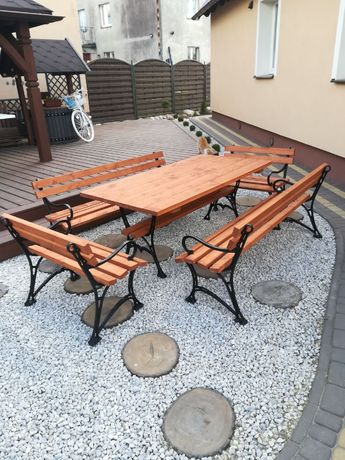 Meble ogrodowe XXL stół 4 ławki żeliwne z podłokietnikiem biesiadne