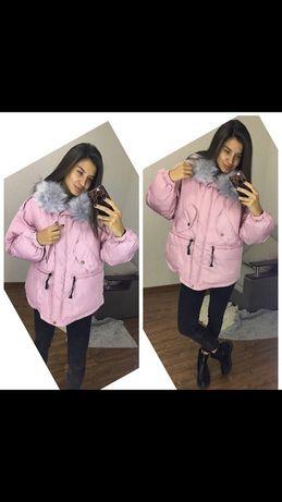 Зимняя куртка парка розовая