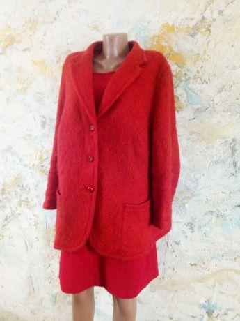 Красный твидовый пиджак шерстяной frank walder, пиджак большого размер