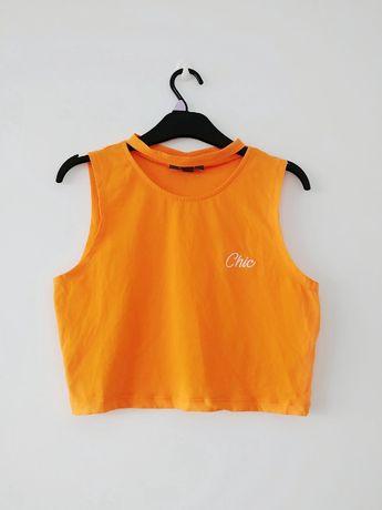 pomarańczowy neonowy crop top z chokerem sexy krótka bluzka z napisem